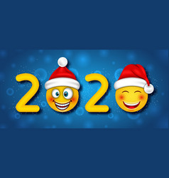 happy new year 2020 with funny emoticons in santa vector image