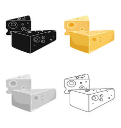 Hard cheese icon in cartoon style isolated on vector