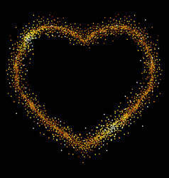 heart of gold spangles on a black background vector image