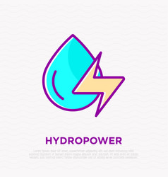 Hydropower water drop with energy symbol vector
