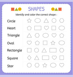 identify and color the correct shape learn shapes vector image