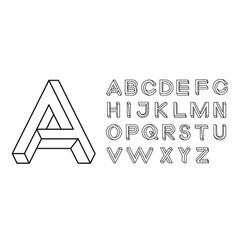Impossible shape font memphis style letters vector