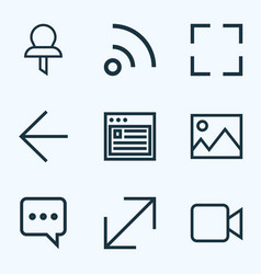 interface icons line style set with screenshot vector image