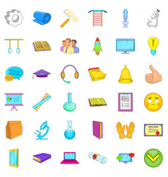 Internet learning icons set cartoon style vector