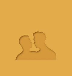 interracial gay men couple paper cut vector image