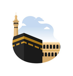 Islamic holy city mecca kaaba building concept vector