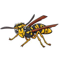 Jellowjacket or wasp insect character cartoon vector