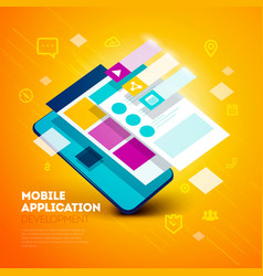 layered user interface smartphone app development vector image