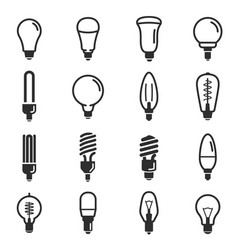 light bulb and led lamp icon set vector image