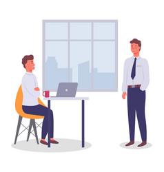Men work and communicate in office informal vector