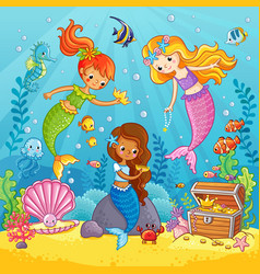 Mermaids play under the water vector