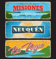 misiones neuquen rio negro argentine provinces vector image