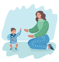 mother holding her hands supporting baby boy vector image