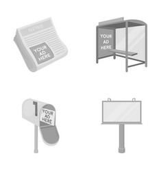Newspapers a bus stop a mail box a billboard vector