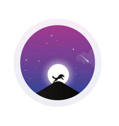 Night fox hill image vector