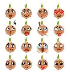 Onion emoji emoticon expression funny cute food vector