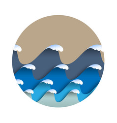 origami paper waves with sea foam in japanese vector image