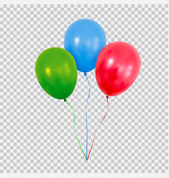 Red green and blue helium balloons set isolated vector