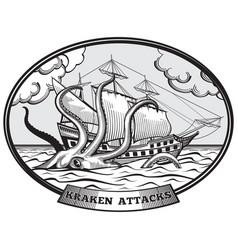 Sailing ship and kraken monster octopus emblem in vector
