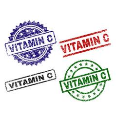Scratched textured vitamin c stamp seals vector