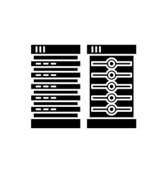 servers black icon sign on isolated vector image