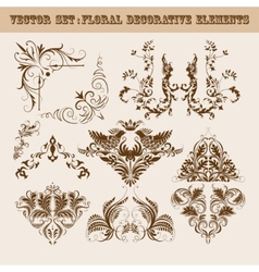set of floral decorative elements vector image