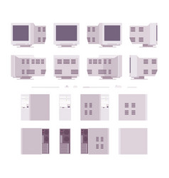 Set of old personal computer vector