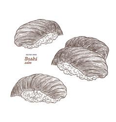 set of salmon sushi nigiri hand draw sketch vector image