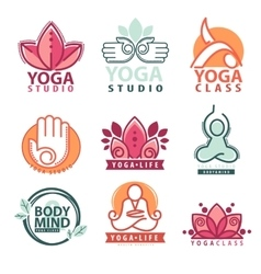 Set of yoga and meditation graphics and logo vector