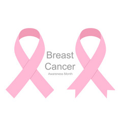 set pink ribbons breast cancer women healthcare vector image