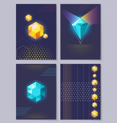 Set wallpapers 3d figures vector