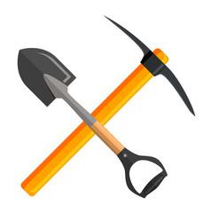 Shovel and pickaxe tools vector