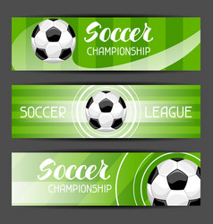soccer stylized banners with ball football symbol vector image