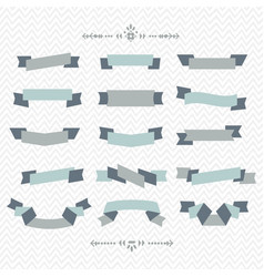 teal and gray ribbon banners design elements set vector image