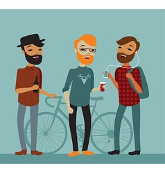 Three young boy hipsters vector