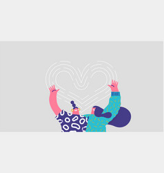 two girl friend hug together love concept isolated vector image