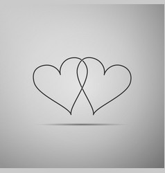 Two linked hearts icon isolated on grey background vector