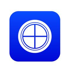 white round window icon digital blue vector image