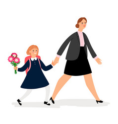 woman and girl going to school vector image