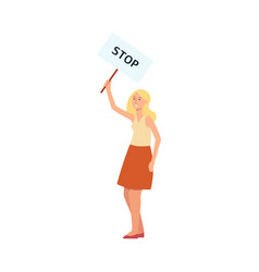 woman stand holding protest placard with stop vector image