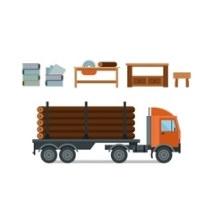 Woodworking cartoon tools icons vector image