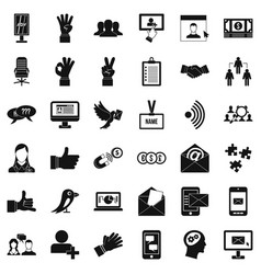 Work dialog icons set simple style vector