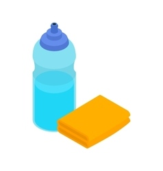 Yellow sponge and bottle icon isometric 3d style vector