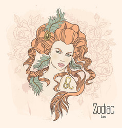 zodiac leo as girl with flowers vector image