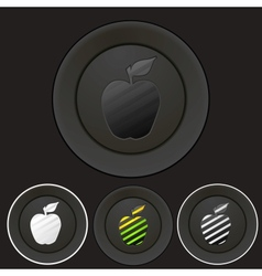 Black buttons set with apple silhouette vector image vector image