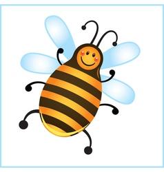 funny bee in frame cartoon vector image vector image