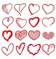 Hand drawn heart shapes romance love doodle vector image vector image
