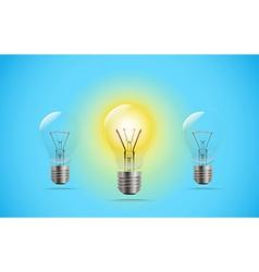 Lighting lightbuld in a line Idea concept vector image vector image