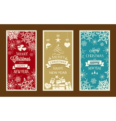 Merry christmas and happy new year labels vector