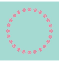 Paw print round frame Empty template vector image vector image